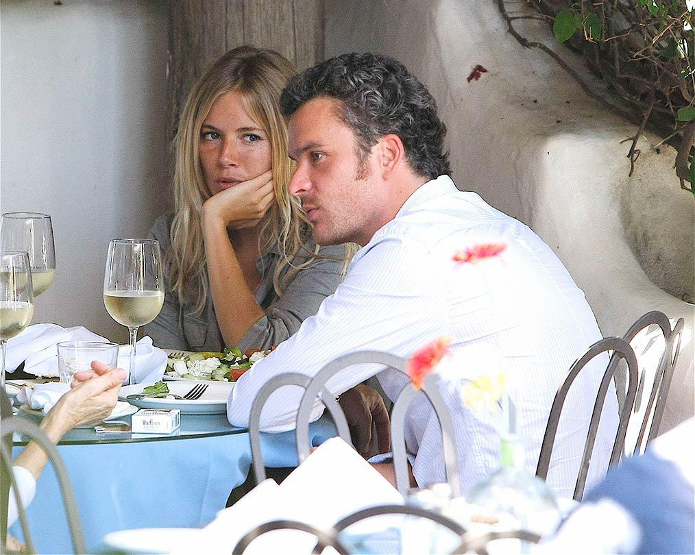 "New couple Sienna Miller and Balthazar Getty dine with director Jerry Bruckheimer at Taverna Tony in Malibu. <a href=""http://www.splashnewsonline.com"" target=""new"">Splash News</a> - August 8, 2008"