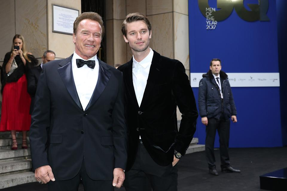 BERLIN, GERMANY - NOVEMBER 09: Arnold Schwarzenegger and his son Patrick Schwarzenegger during the GQ Men of the year Award 2017 at Komische Oper on November 9, 2017 in Berlin, Germany. (Photo by Gisela Schober/Getty Images for GQ)