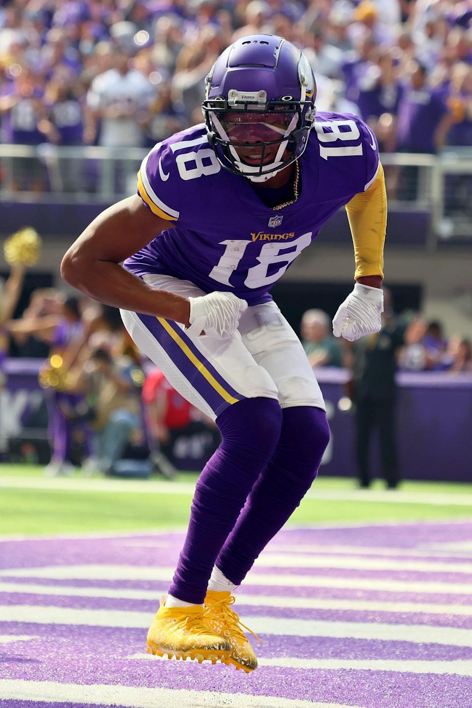 MINNEAPOLIS, MINNESOTA - OCTOBER 03: Justin Jefferson #18 of the Minnesota Vikings celebrates after a touchdown in the game against the Cleveland Browns during the first quarter at U.S. Bank Stadium on October 03, 2021 in Minneapolis, Minnesota. (Photo by Adam Bettcher/Getty Images)