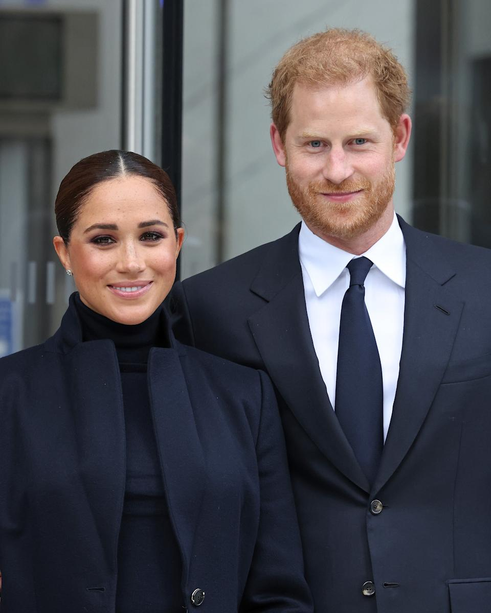 NEW YORK, NEW YORK - SEPTEMBER 23: Meghan, Duchess of Sussex, and Prince Harry, Duke of Sussex, visit One World Observatory on September 23, 2021 in New York City. (Photo by Taylor Hill/WireImage)