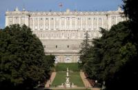 Royal Palace of Madrid is seen from the Campo del Moro gardens in central Madrid