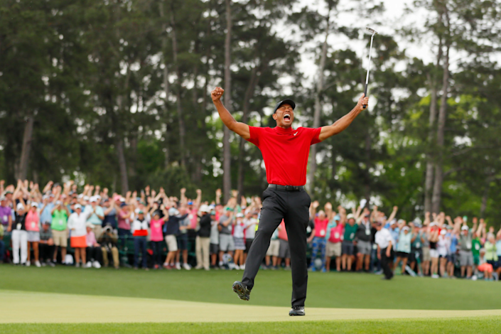 Tiger Woods celebrates after winning the 2019 Masters at Augusta National.