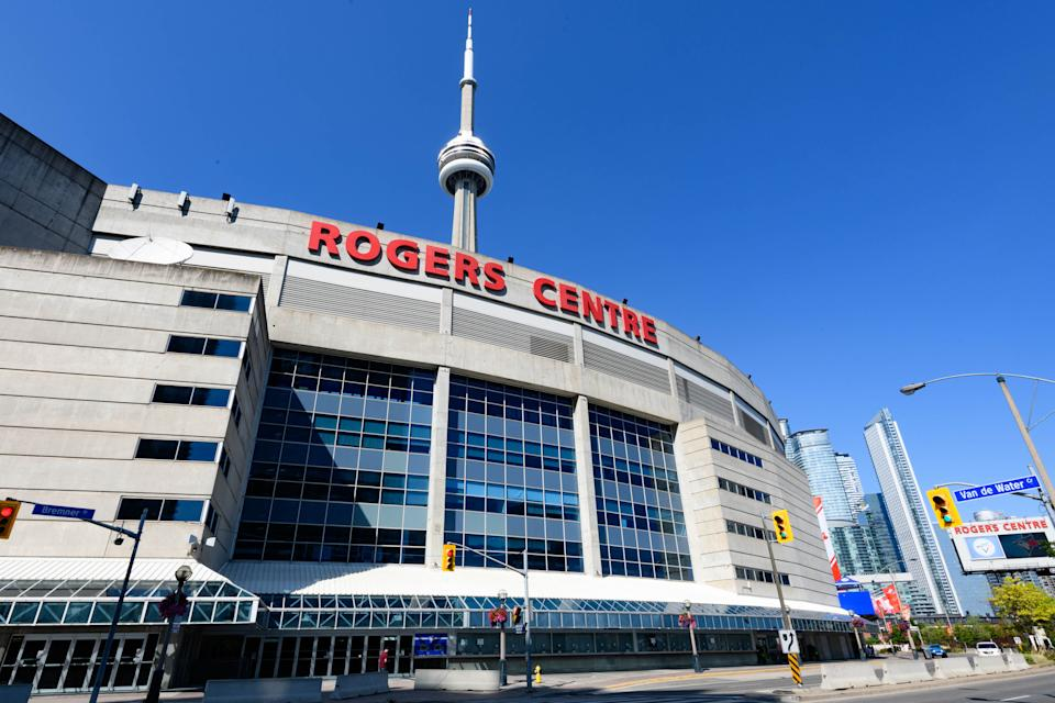 TORONTO, ON - JULY 17: General view of Rogers Centre before the intrasquad game that's part of the Toronto Blue Jays summer training camp on July 17, 2020, at Rogers Centre in Toronto, ON, Canada. (Photo by Julian Avram/Icon Sportswire via Getty Images)