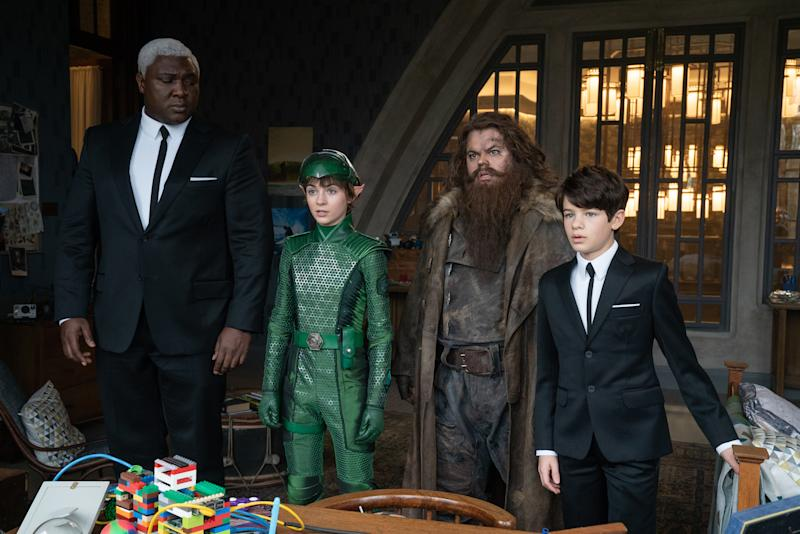 Nonso Anozie is Butler, Lara McDonnell is Holly Short, Josh Gad is Mulch Diggums and Ferdia Shaw is Artemis Fowl in Disne's ARTEMIS FOWL, directed by Kenneth Branagh. (© 2020 Disney Enterprises, Inc. All Rights Reserved.)