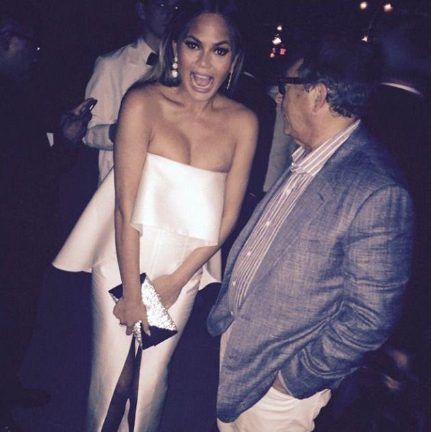 Whoops! That thigh-high split caused the supermodel a bit of drama. Photo: Instagram