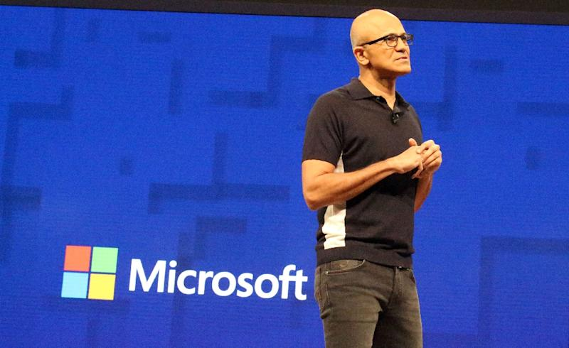 Microsoft chief executive Satya Nadella, opening the tech giant's Build conference on May 10, 2017, tells developers artificial intelligence does not need to lead to a dystopian future