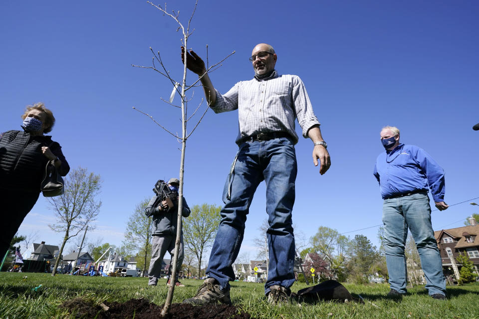City arborist Todd Fagan plants a tree during a tree planting ceremony with school children, Friday, April 30, 2021, in Cedar Rapids, Iowa. A rare storm called a derecho plowed through the city of 130,000 last August with 140 mph winds and left behind a jumble of branches, downed powerlines and twisted signs. Now, city officials, businesses and nonprofit groups have teamed up with ambitious plans to somehow transform what is now a city of stumps back into the tree-covered Midwestern oasis along the Cedar River. (AP Photo/Charlie Neibergall)