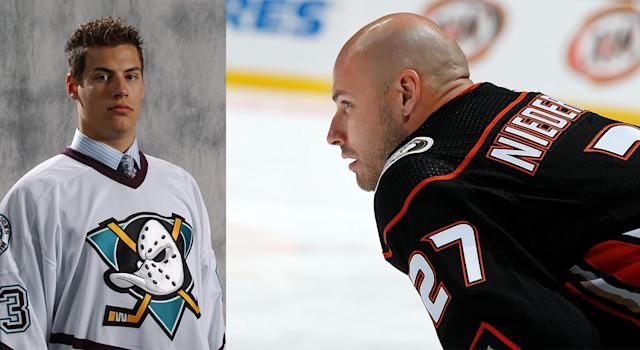 Ryan Getzlaf on the day he was drafted in 2003, left, and Ryan Getzlaf in 2019, right. (Getty Images)