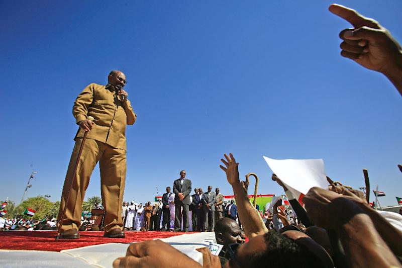 Bashir was known for his populist touch and addressed crowds in colloquial Sudanese Arabic (AFP Photo/ASHRAF SHAZLY)