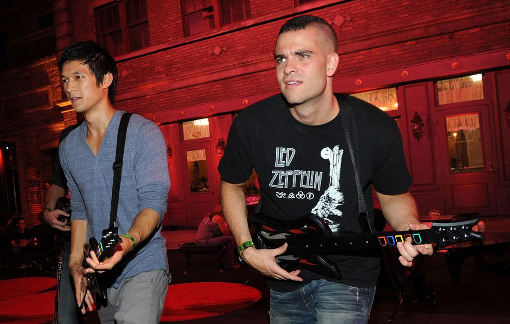 "Meanwhile, Cory's ""Glee"" co-stars Harry Shum Jr. (Mike Chang) and Mark Salling (Puck) wasted no time in strapping on faux instruments and starting a jam session. Michael Buckner/<a href=""http://www.gettyimages.com/"" target=""new"">GettyImages.com</a> - September 27, 2010"