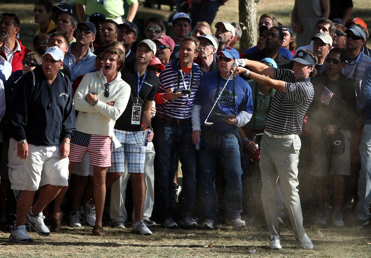 MEDINAH, IL - SEPTEMBER 29:  Bubba Watson of the USA watches a shot from the rough on the 13th hole during day two of the Afternoon Four-Ball Matches for The 39th Ryder Cup at Medinah Country Club on September 29, 2012 in Medinah, Illinois.  (Photo by Andrew Redington/Getty Images)