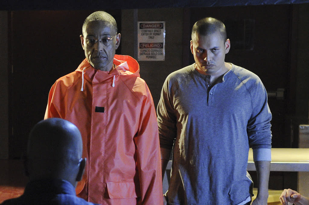 """<b>11. Victor</b> (Season 4, """"Box Cutter"""") <br><br>Cause of Death: Throat slit with a box cutter <br><br>We were terrified of what cold-blooded drug kingpin Gus Fring might do to Walt and Jesse in the wake of Gale's death. But it was Gus's henchman Victor who paid the price: To prove just how seriously he takes his drug business, Gus methodically got dressed in a protective lab suit and graphically slashed Victor's throat with a box cutter right in front of Walt and Jesse. Then he just as methodically slipped back into his business attire and told the two to """"get back to work."""" The lesson, as always: Don't mess with Gus Fring."""