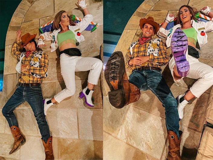 """A side-by-side of a couple dressed up as Woody and Buzz Lightyear from """"Toy Story."""""""