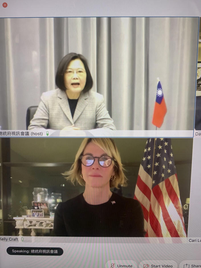 """In this image made from a video screen shows Taiwan's President Tsai Ing-wen, top, and U.S. Ambassador to the United Nations Kelly Craft meeting virtually on Wednesday night, Jan. 13, 2021. Craft's trip to Taiwan was canceled but Craft told Tsai: """"The United States will always stand with Taiwan."""" (The United States Mission to the United Nations via AP)"""