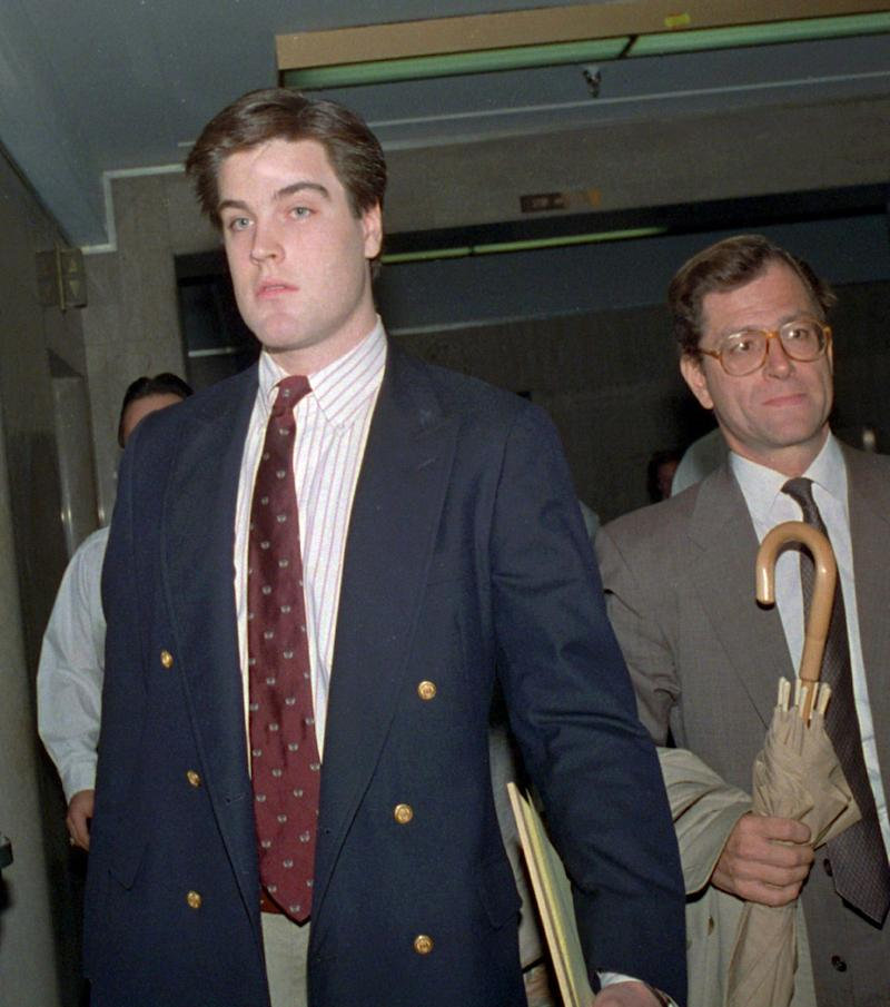 Robert Chambers, left, exits a New York court with his defense attorney Jack Litman on Oct. 21, 1987.