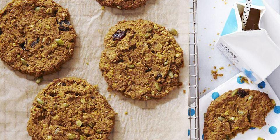 """<p>Wake up to something festive on October 31! These delicious on-the-go treats are packed with protein (and fiber!) to keep you energized through trick-or-treating.</p><p><em><a href=""""https://www.goodhousekeeping.com/food-recipes/dessert/a35274/pumpkin-cherry-breakfast-cookies/"""" rel=""""nofollow noopener"""" target=""""_blank"""" data-ylk=""""slk:Get the recipe for Pumpkin-Cherry Breakfast Cookies »"""" class=""""link rapid-noclick-resp"""">Get the recipe for Pumpkin-Cherry Breakfast Cookies »</a></em></p><p><strong>RELATED: </strong><a href=""""https://www.goodhousekeeping.com/food-recipes/dessert/g32815642/fall-cookies/"""" rel=""""nofollow noopener"""" target=""""_blank"""" data-ylk=""""slk:45 Tasty Fall Cookies to Get You in the Pumpkin Spice Spirit"""" class=""""link rapid-noclick-resp"""">45 Tasty Fall Cookies to Get You in the Pumpkin Spice Spirit</a><br></p>"""