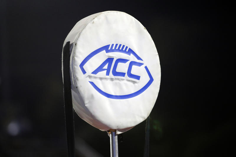 FILE - This Sept. 7, 2019, file photo shows the ACC logo atop the chain marker during the second half of an NCAA college football game between Duke and North Carolina A&T, in Durham, N.C. There's a growing trend at Atlantic Coast Conference football games: alcohol sales to the general public. Now everyone can enjoy their beverage of choice at most ACC stadiums, not just boosters and donors. (AP Photo/Karl B DeBlaker, File)