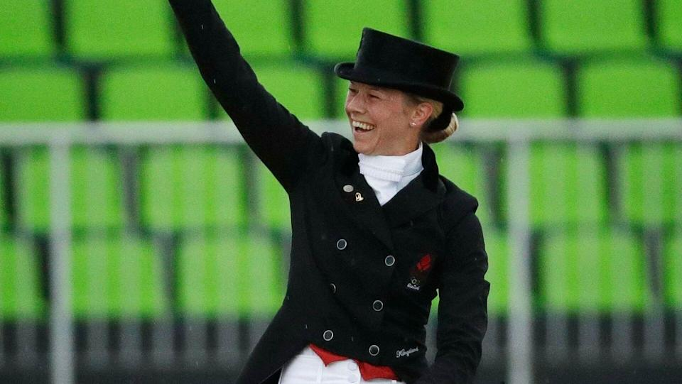 Mandatory Credit: Photo by John Locher/AP/Shutterstock (5827664m)Denmark's Agnete Kirk Thinggaard, riding Jojo Az, reacts after competing in the equestrian dressage competition at the 2016 Summer Olympics in Rio de Janeiro, BrazilRio 2016 Olympic Games, Equestrian, Olympic Equestrian Centre, Brazil - 10 Aug 2016.