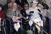 <p>One of many joyful moments at the annual Braemar Highland Games, one of the Queen and Prince Philip's favourite engagements.</p>