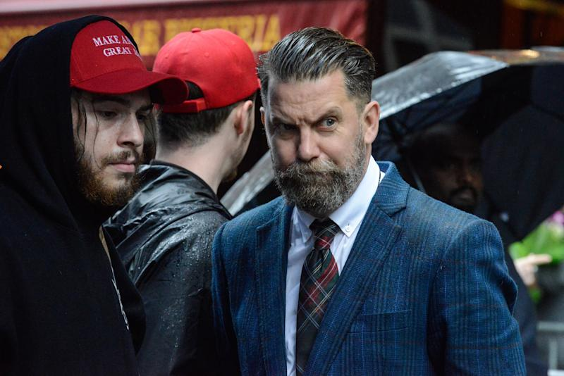 Gavin McInnes (right), the leader of the neo-fascist gang the Proud Boys, at a 2017 anti-Muslim demonstration in New York City. (Getty Images)