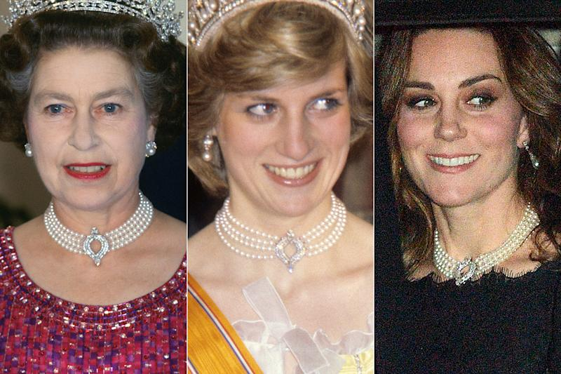 Pregnant Kate Middleton Borrows the Queen's Pearl Choker Once Also ...