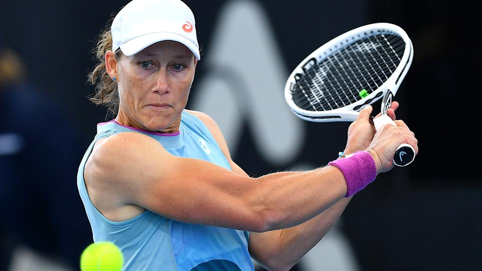 Sam Stosur has opened up to broadcaster Neroli Meadows about the challenges she faced making her relationship with partner Liz Astling public. (Photo by Mark Brake/Getty Images)