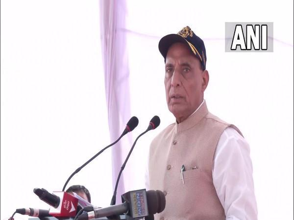 Defence Minister Rajnath Singh speaking at the Investiture Ceremony at National Stadium Complex in Delhi on Saturday. (Photo/ANI)