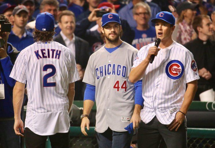 Chicago Blackhawks players at Wrigley Field for the NLCS. Photo tweeted by  Brian Cassella. 4f0a79adf