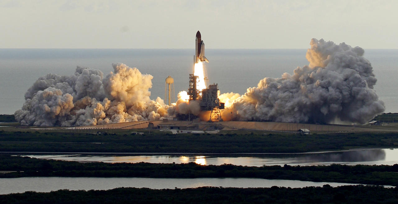 Space shuttle Endeavour clears the launch pad at Cape Canaveral, Fla., on Monday, May 16, 2011.