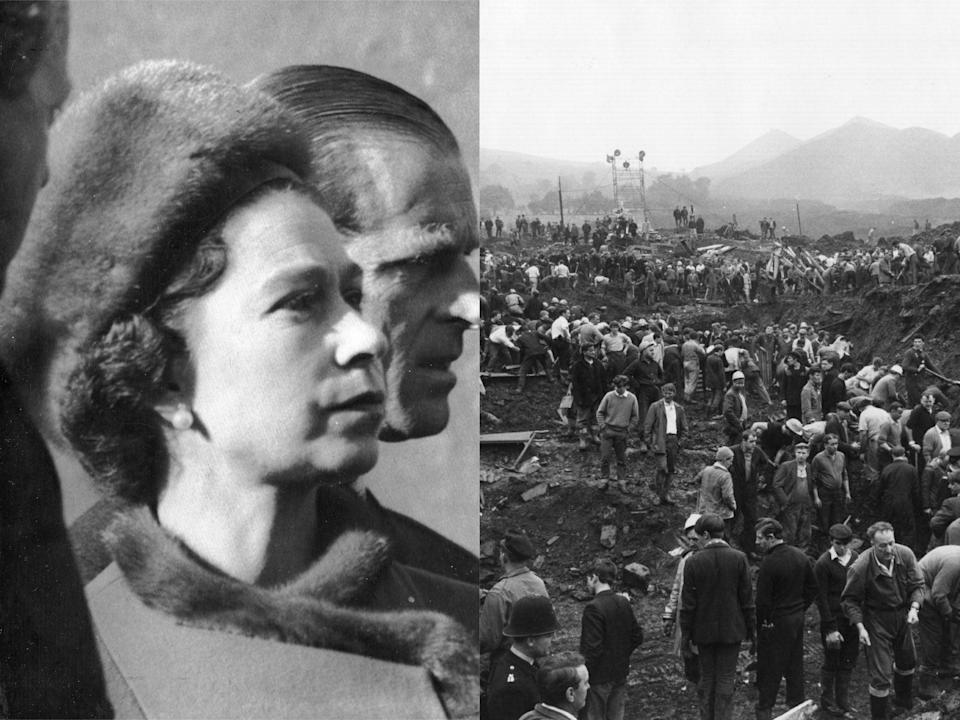 Queen Elizabeth II and Prince Philip visit Aberfan on 29 October 1966 / Helpers in the wreckage of the Aberfan disaster on 24 October 1966 (Rex Features/Getty Images)