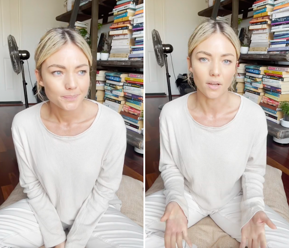 Sam Frost's vaccination post.