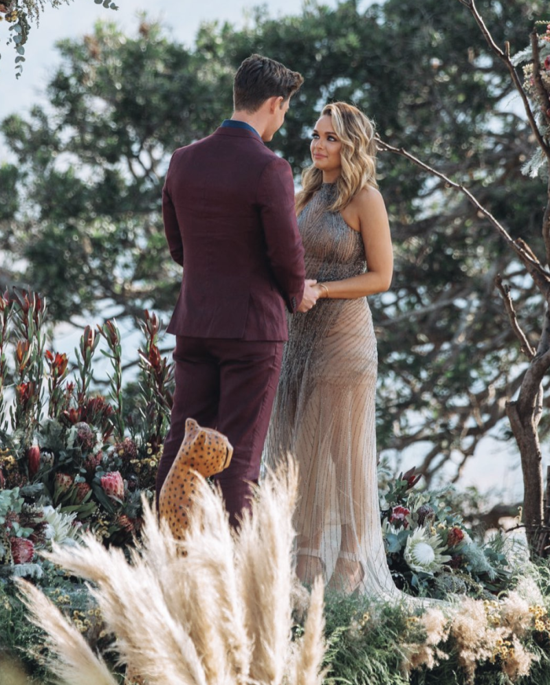 Matt Agnew pictured with Abbie Chatfield on The Bachelor Australia finale