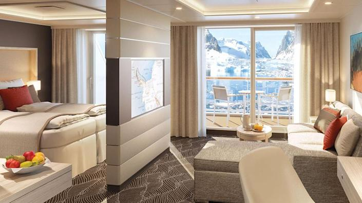 Inside one of the ship's suites with glacial views. - Credit: Courtesy of Lindblad Expeditions