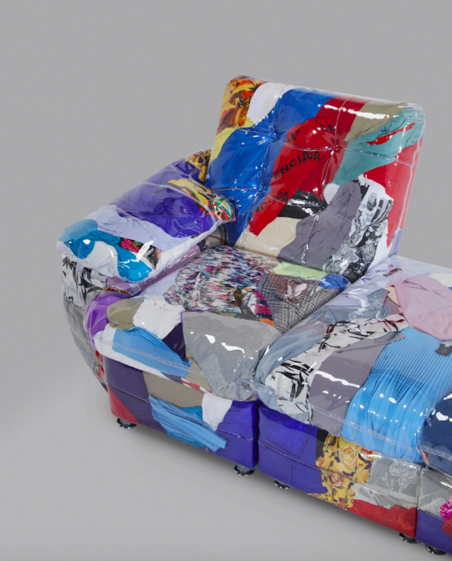 A colorful couch made from scrapped Balenciaga garments, designed by Harry Nuriev.