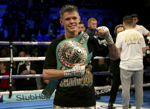 Charlie Edwards celebrates beating Angel Moreno in their World Boxing Council World Flyweight Title bout at the Copper Box Arena, London. (Paul Harding/PA via AP)