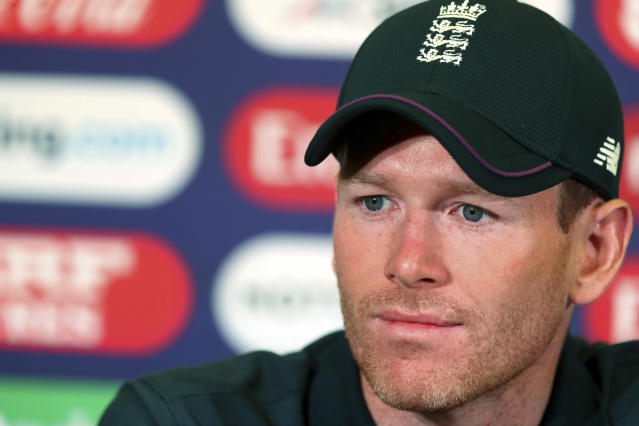 England cricket team captain Eoin Morgan during the press conference at Trent Bridge in Nottingham, England, Sunday June 2, 2019. England will play Pakistan in a Cricket World Cup match on Monday June 3. (Simon Cooper/PA via AP)