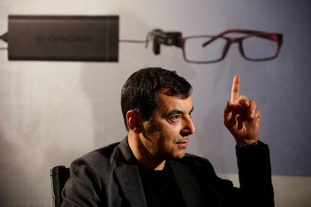 Amnon Shashua, co-founder of Israeli start-up Mobileye, gestures during an interview with Reuters at his second high-tech company, OrCam, makers of a wearable device which provides visual aid for visually impaired people, at their office in Jerusa