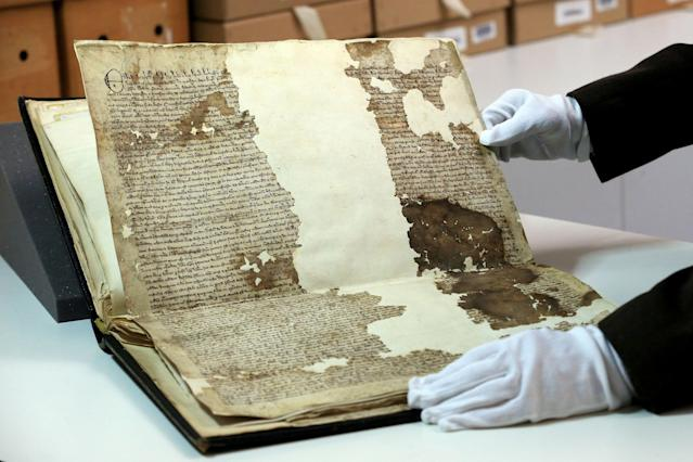 An original Magna Carta from the issue made in 1300 by King Edward l to the borough of Sandwich in Kent. (PA)