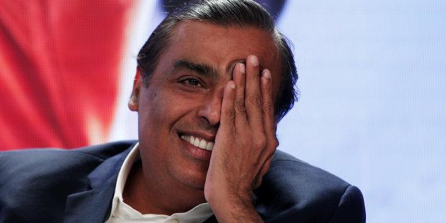 Mukesh Ambani, Chairman and Managing Director of Reliance Industries, gestures as he answers a question during a media interaction in New Delhi, India, June 15, 2017. REUTERS/Adnan Abidi