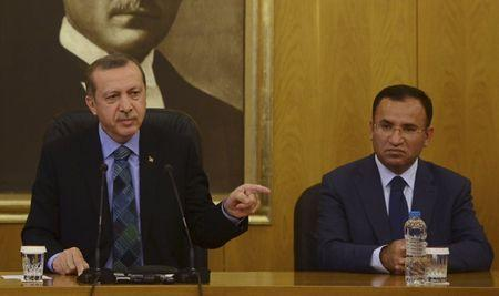 File photo of Turkey's PM Erdogan during news conference at Ataturk International Airport in Istanbul
