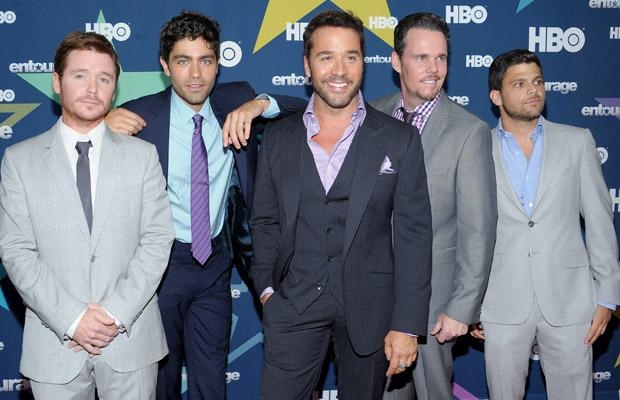 "NEW YORK, NY - JULY 19:  (L-R) Actors Kevin Connolly, Adrian Grenier, Jeremy Piven, Kevin Dillon and Jerry Ferrara attend the ""Entourage"" Season 8 premiere at the Beacon Theatre on July 19, 2011 in New York City.  (Photo by Michael Loccisano/Getty Images)"