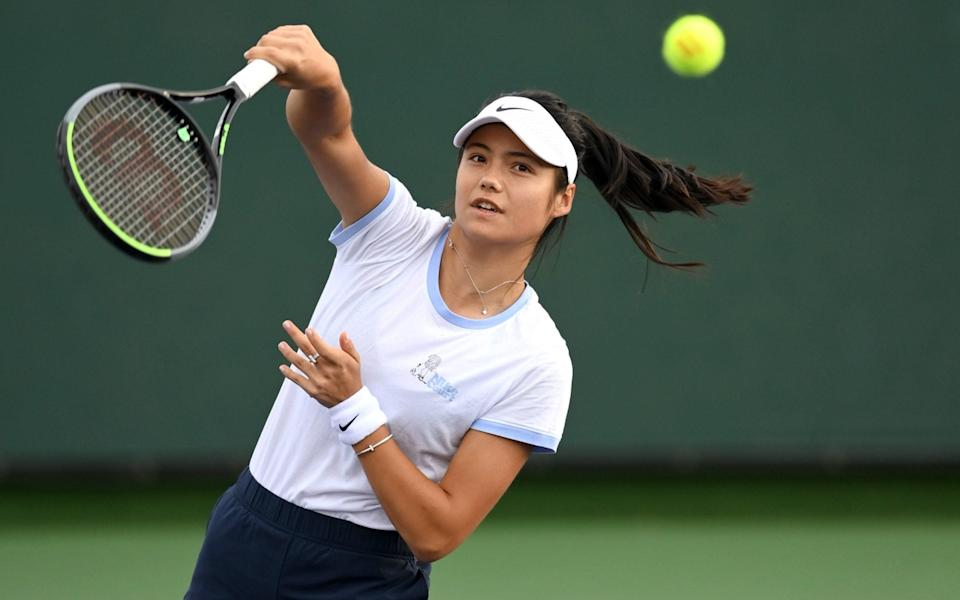 Emma Raducanu (GBR) plays on the practice courts during the BNP Paribas Open at the Indian Wells Tennis Garden - USA Today
