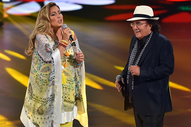 Italian singers Romina Power and Albano Carrisi during tv broadcast Buon Compleanno Pippo dedicated to Pippo Baudo to his 83 years and 60 years of work on television in the Rai studios Dear. Rome (Italy), June 7th, 2019 (Photo by Massimo Insabato/Archivio Massimo Insabato/Mondadori via Getty Images)