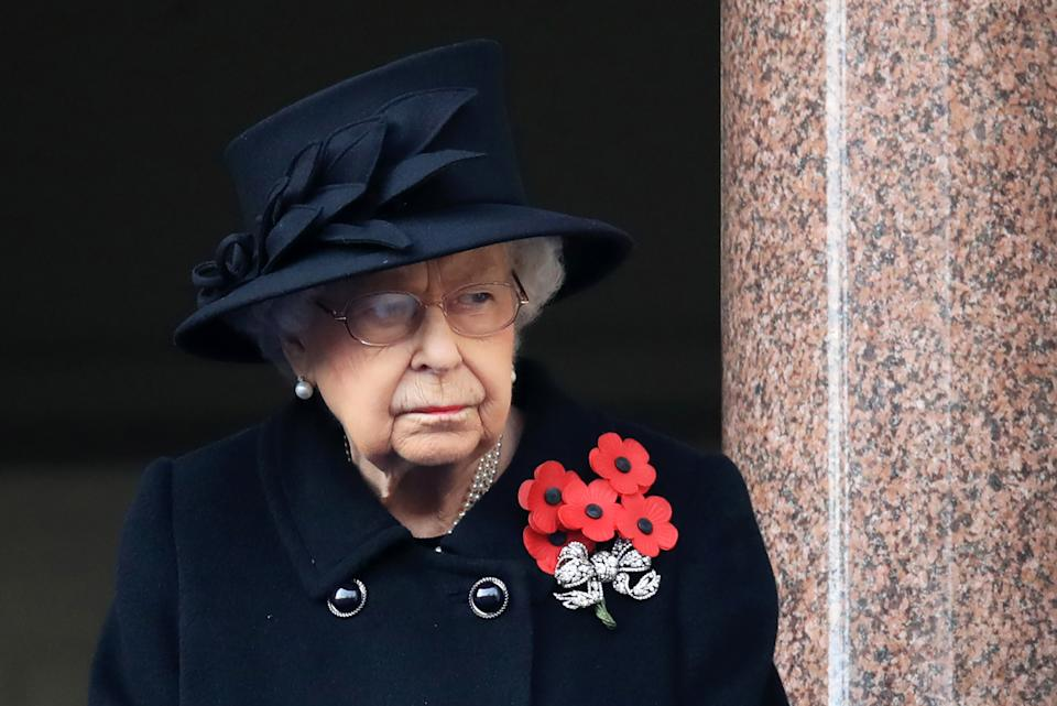 Britain's Queen Elizabeth II attends the Remembrance Sunday ceremony at the Cenotaph on Whitehall in central London, on November 8, 2020. - Remembrance Sunday is an annual commemoration held on the closest Sunday to Armistice Day, November 11, the anniversary of the end of the First World War and services across Commonwealth countries remember servicemen and women who have fallen in the line of duty since WWI. This year, the service has been closed to members of the public due to the novel coronavirus COVID-19 pandemic. (Photo by Aaron Chown / POOL / AFP) (Photo by AARON CHOWN/POOL/AFP via Getty Images)