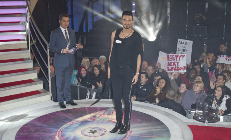 Rylan Clark arrives to enter the Big Brother house at Elstree Studios in north west London, Friday, Jan. 4, 2013. The series of Celebrity Big Brother is the fourth to be screened by Channel 5 after the show was discontinued by Channel 4. (Photo by Joel Ryan/Invision/AP)