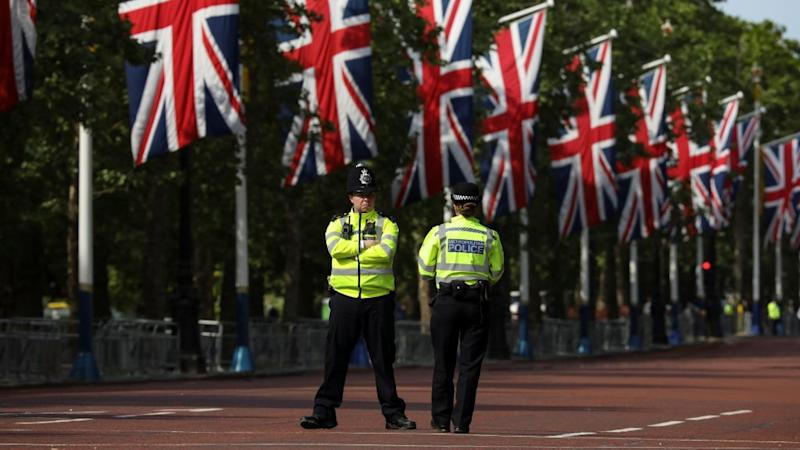 Police stands in the Mall decked out with Union Jack flags in London, Britain May 23, 2019. Europeans start voting on Thursday in four days of elections to the EU parliament that will influence not just Brussels policy for the next five years but, to some extent, the very future of the Union project itself.