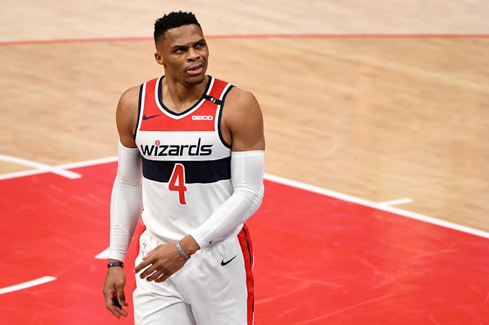 Russell Westbrook #4 of the Washington Wizards reacts after a play against the Portland Trail Blazers during the second half at Capital One Arena on February 02, 2021 in Washington, DC. NOTE TO USER: User expressly acknowledges and agrees that, by downloading and or using this photograph, User is consenting to the terms and conditions of the Getty Images License Agreement. (Photo by Will Newton/Getty Images)