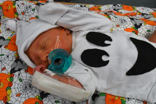 PHOTO: Baby from the Tallahassee Memorial HealthCare NICU dressed in a ghost Halloween costume. (Tallahassee Memorial HealthCare)