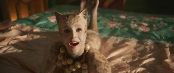 """This image released by Universal Pictures shows Francesca Hayward as Victoria in a scene from """"Cats."""" (Universal Pictures via AP)"""