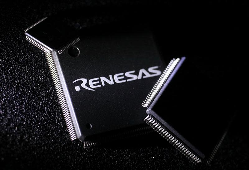 File photo of Renesas Electronics Corp's chip at the company's office in Tokyo